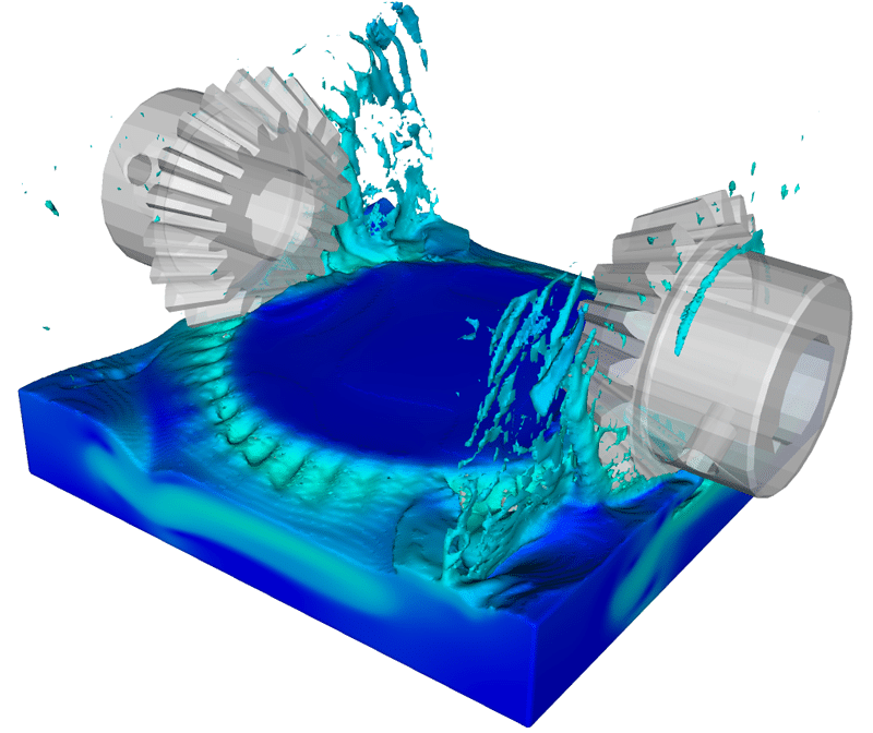 Gear interaction simulation with FLOW-3D