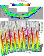 Flows over submerged vanes for control of river bank erosion are shown colored by velocity magnitude (by University of Illinois; images generated with Tecplot)