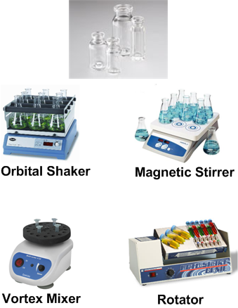Agitation instruments and glass vial