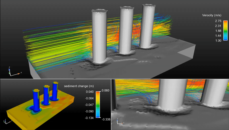Bridge scour simulation flow3d