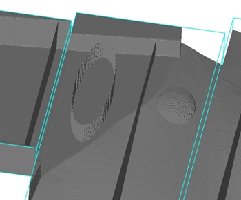 Example of flux baffles of planar, cylindrical and spherical shape rendered within a sample mesh