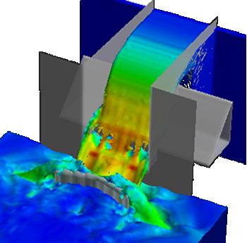 CFD cascade aerator weir
