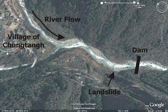 Google earth landslide in relation to the village