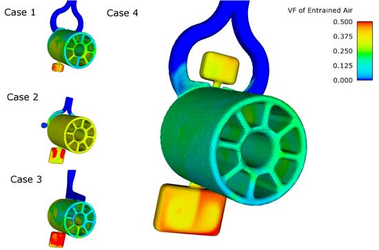 4 simulation cases of the Caster Wheel Leg part