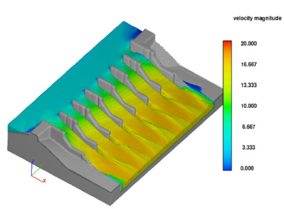 Simulation of final Keeyask spillway structure,