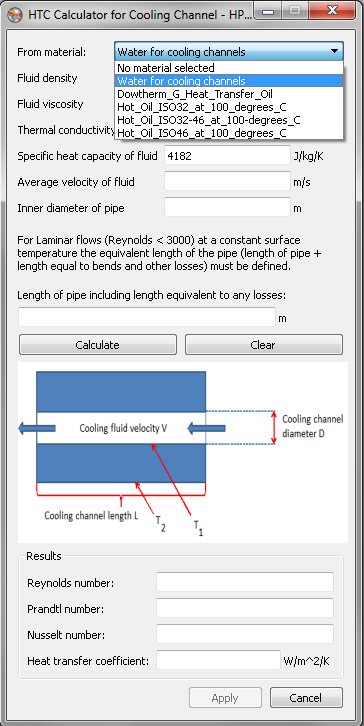HTC calculator for cooling channels
