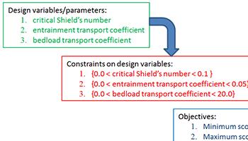 Sediment scour parameters optimization