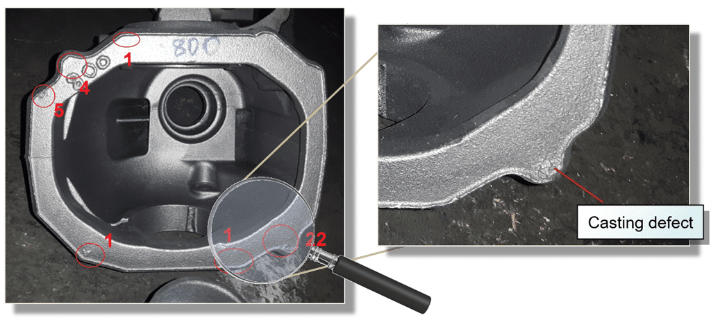 Casting defects of a rear axle housing