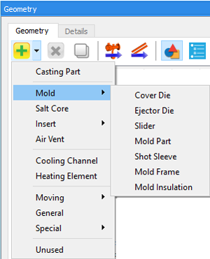 Simulation setup FLOW-3D CAST