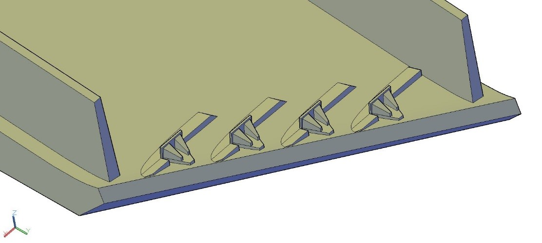 FLOW-3D model spillway roughness elements