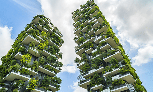 Modern skyscrapers and architecture (vertical gardens). Courtesy Shutterstock.