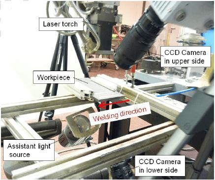 실험 설정 레이저 용접