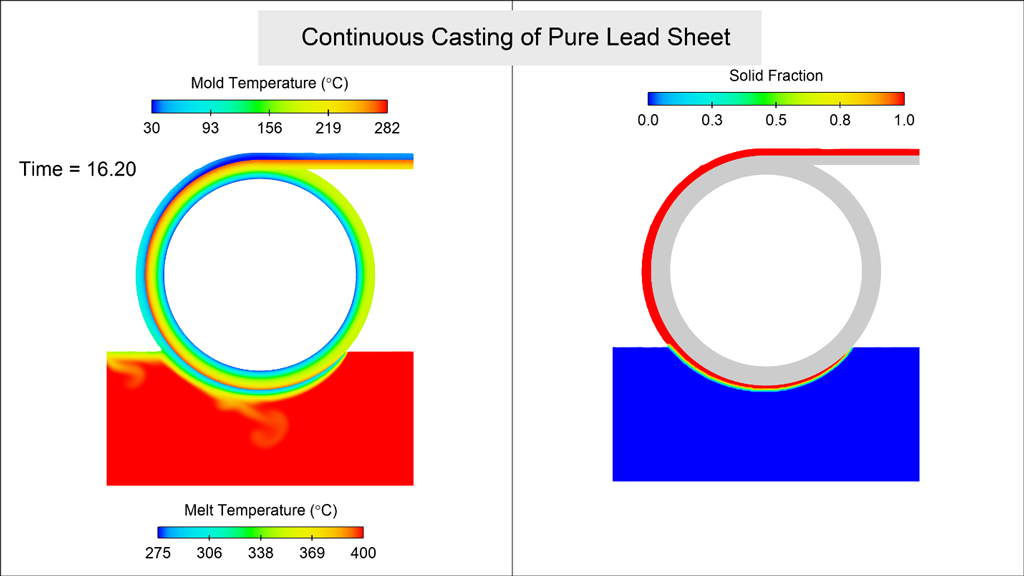 Continuous casting pure lead sheet