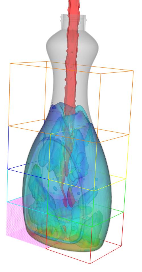 FLOW-3D Bottle Filling Multiphysics