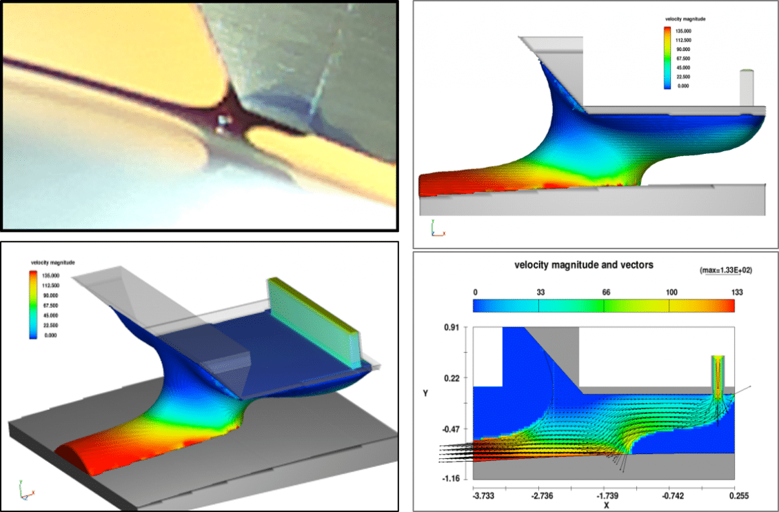Simulation of a slot die coating without vacuum assist, courtesy Roche Diagnostics GmbH