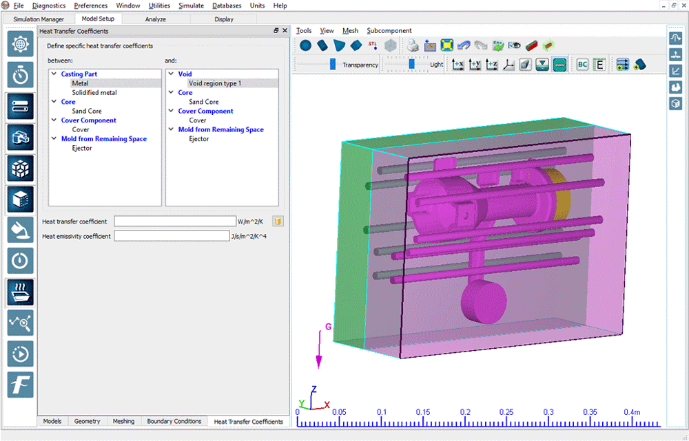 Heat transfer coefficients in FLOW-3D Cast v4.2
